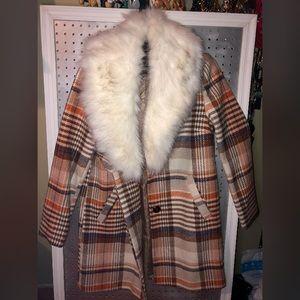 Plaid Peacoat with DETACHABLE Faux-Fur Collar!